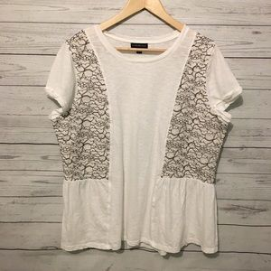 Lane Bryant White Lace Peasant Shirt 14/16